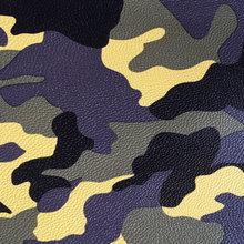 供应迷彩PU革,细羊底纹军旅风格棉绒底手感软适用鞋面料及服装面料革
